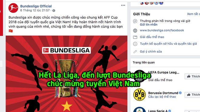 Sau La Liga, đến lượt Bundesliga gửi lời chúc mừng cho tuyển Việt Nam