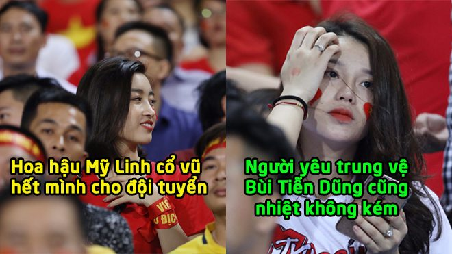 Hoa hậu Mỹ Linh rạng rỡ trên khán đài để cháy hết mình cổ vũ tuyển Việt Nam