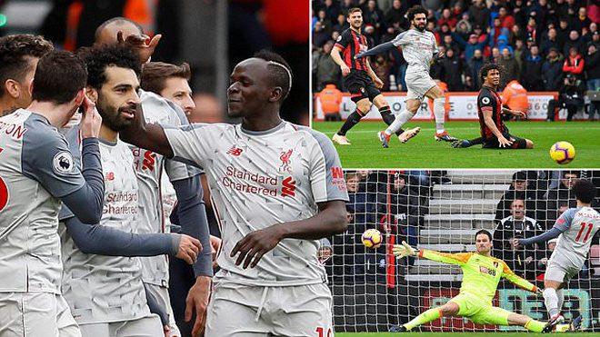 Salah lập hattrick, Liverpool vùi dập Bournemouth ngay trên sân khách